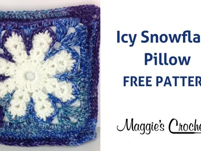 Icy Snowflake Pillow Free Crochet Pattern - Right Handed