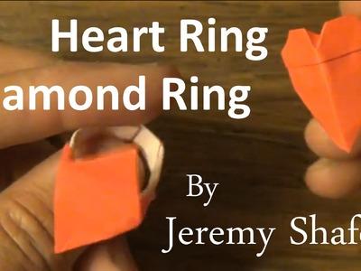 Origami Heart Ring. Diamond Ring
