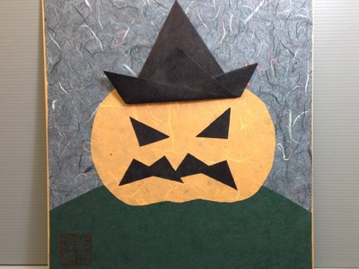 Origami Jack O'Lantern with Witch Hat - How to Make an Origami Display Shikishi
