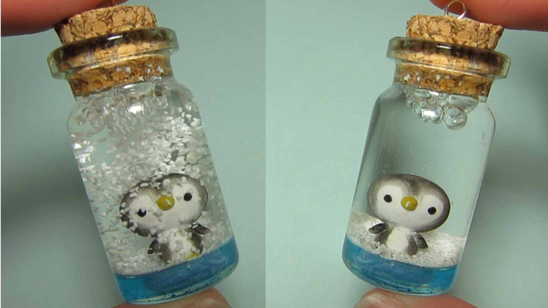 Penguin Mini Snow Globe: Bottle Charm (Polymer Clay)