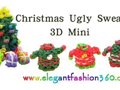 Rainbow Loom Christmas Sweater 3D Mini Charm.Holiday.Ornament - How to Loom Bands