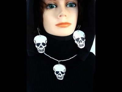 SKULL EARRINGS AND PENDANT, Paper beads, jewelry making, craft projects, halloween