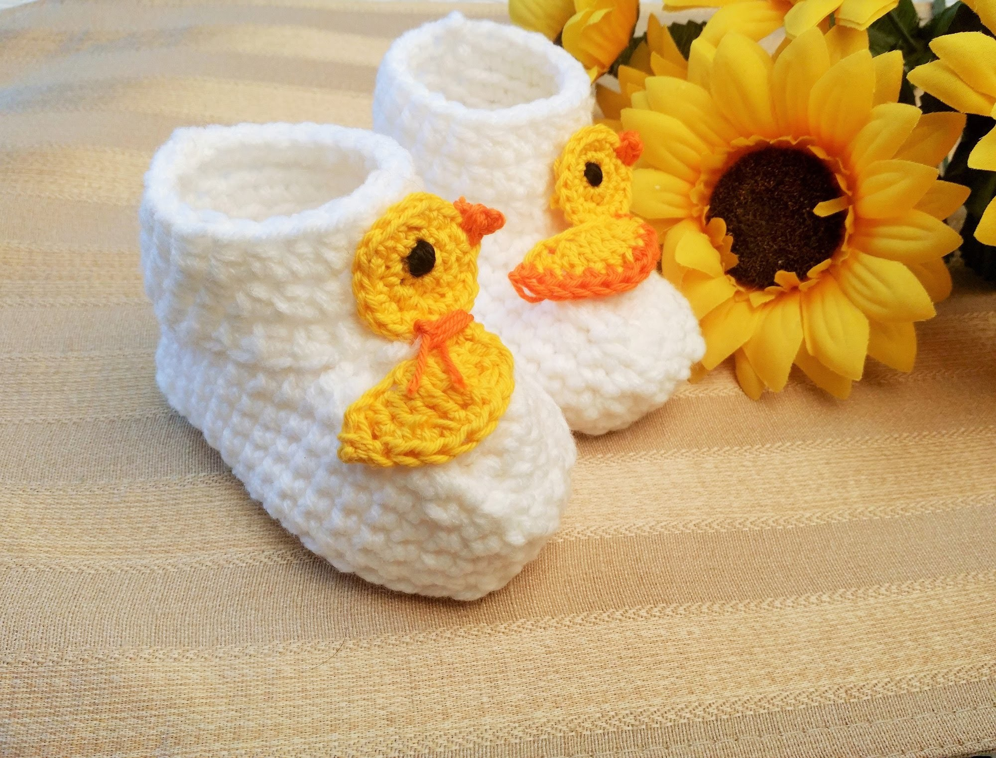 Crochet Glama's Rubber Ducky Baby Booties