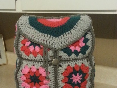 #Crochet Granny Square Backpack #TUTORIAL