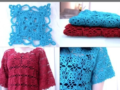 Crochet Granny Square Top #4 part 2 of 2 (Granny Square Pattern #5)
