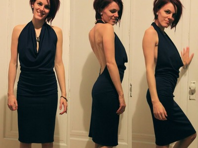 DIY Easy Backless Dress Tutorial with a Halter Top Cowl Neck