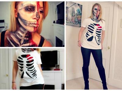 DIY Halloween Skeleton Rib Cage Shirt!