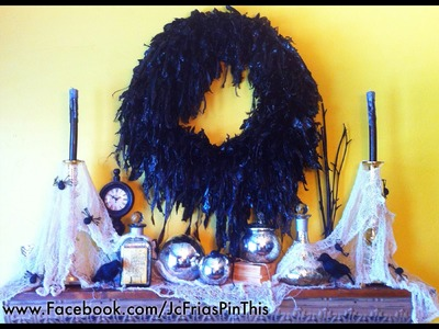 DIY Halloween Wreath For $6!!!! On a Budget How to Decorate your home 2012 Ideas Pumpkin Mod Podge