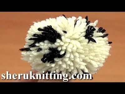 Making Two Color Yarn Pompom Tutorial 12 Method 6 of 8 Pompom Maker Used