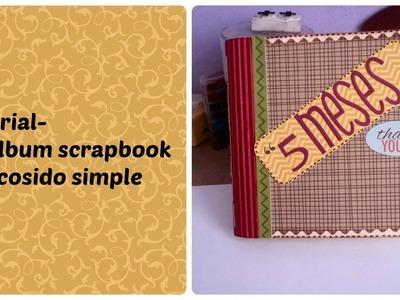 Tutorial- Mini album scrapbook con cosido simple. encuadernacion