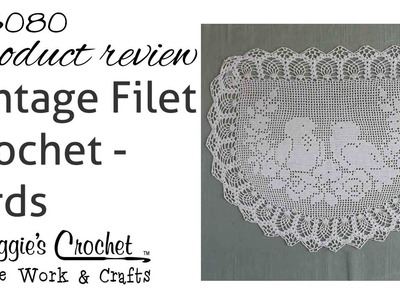 Vintage Filet Crochet Pattern Chair Back & Oval Doily Birds & Roses - PB080