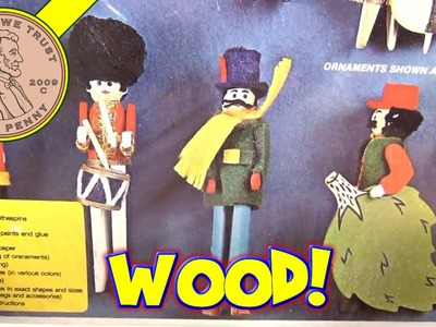 12 Fun to Make Felt & Wood Clothes Pin Ornaments Craft Set, 1976 Arrow Industries