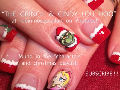 3 Nail Art Tutorials | DIY Christmas Nails | Grinch & Cindy Lou Who Nail Art Design!