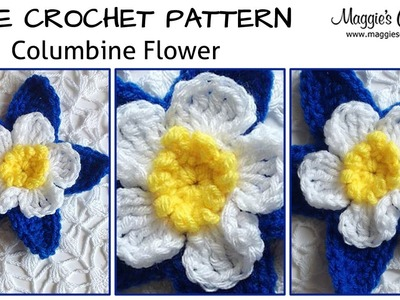 Columbine Flower Free Crochet Pattern - Left Handed