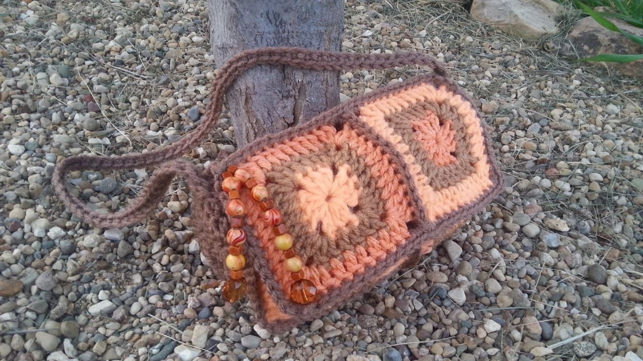 #Crochet 6 Granny Square Crochet Purse Handbag #TUTORIAL