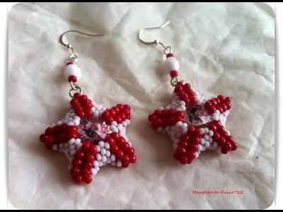 DIY Tutorial: how to make star earrings using seed beads and rivoli swarovski crystal starfish