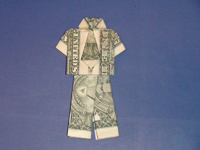 Dollar Origami Shirt & Pants - Make a Dollar Bill Pant Suit Tutorial - How to Make Money Suit Pants