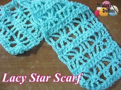 Lacy Star Scarf - Left Handed Crochet Tutorial