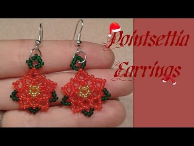 Pointsettia Flower Earrings Beading Tutorial by HoneyBeads1