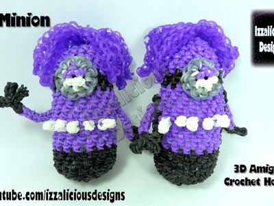 Rainbow Loom Evil Minion Action Figure.Doll.Amigurumi 3D Crochet Hook Only - Loomless
