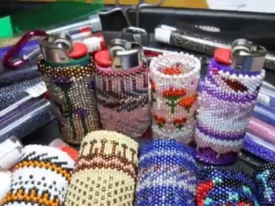 Beaded lighter cases by O.H. Womandress