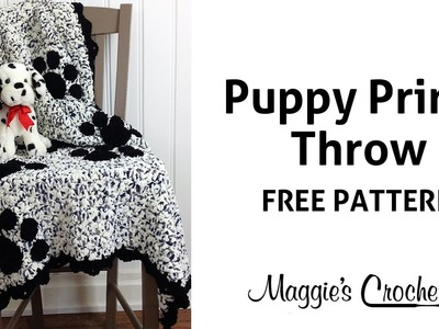 Puppy Prints Afghan Free Crochet Pattern - Right Handed