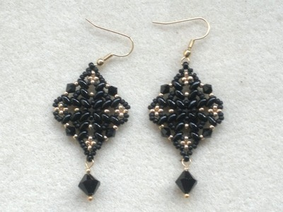 Beading4perfectionists : Classy Diamond shaped black superduo earrings beading tutorial