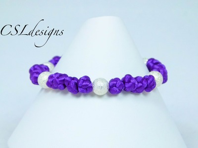 Button knot bracelet with beads