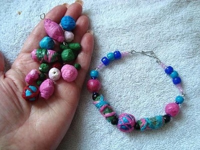 Paper Beads From Crepe Paper Streamers, colorful  paper jewelry, make beads, beading, bracelet