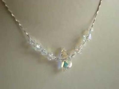 Swarovski clear crystalAB  wing bead necklace