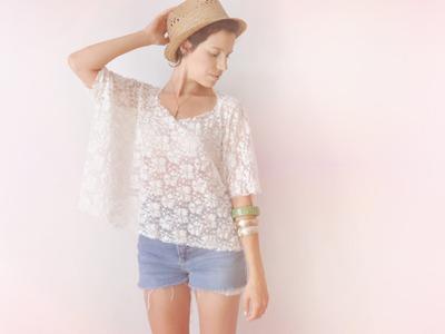 2 minutes lace box top DIY tee-shirt - FASHION DIY VIDEO TUTORIAL