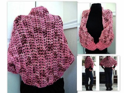 Crochet a pink  chunky shrug, how to crochet, shrug, shawl, accessories, women, teens