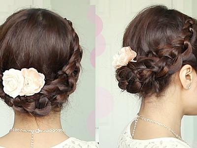 Crochet Braid Updo Hairstyle for Medium Long Hair Tutorial - Bebexo