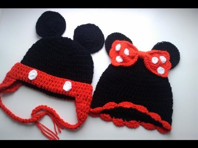 Crochet cap puff stitch minnie mouse mickey hat beanie flower |Fresh off tha hook