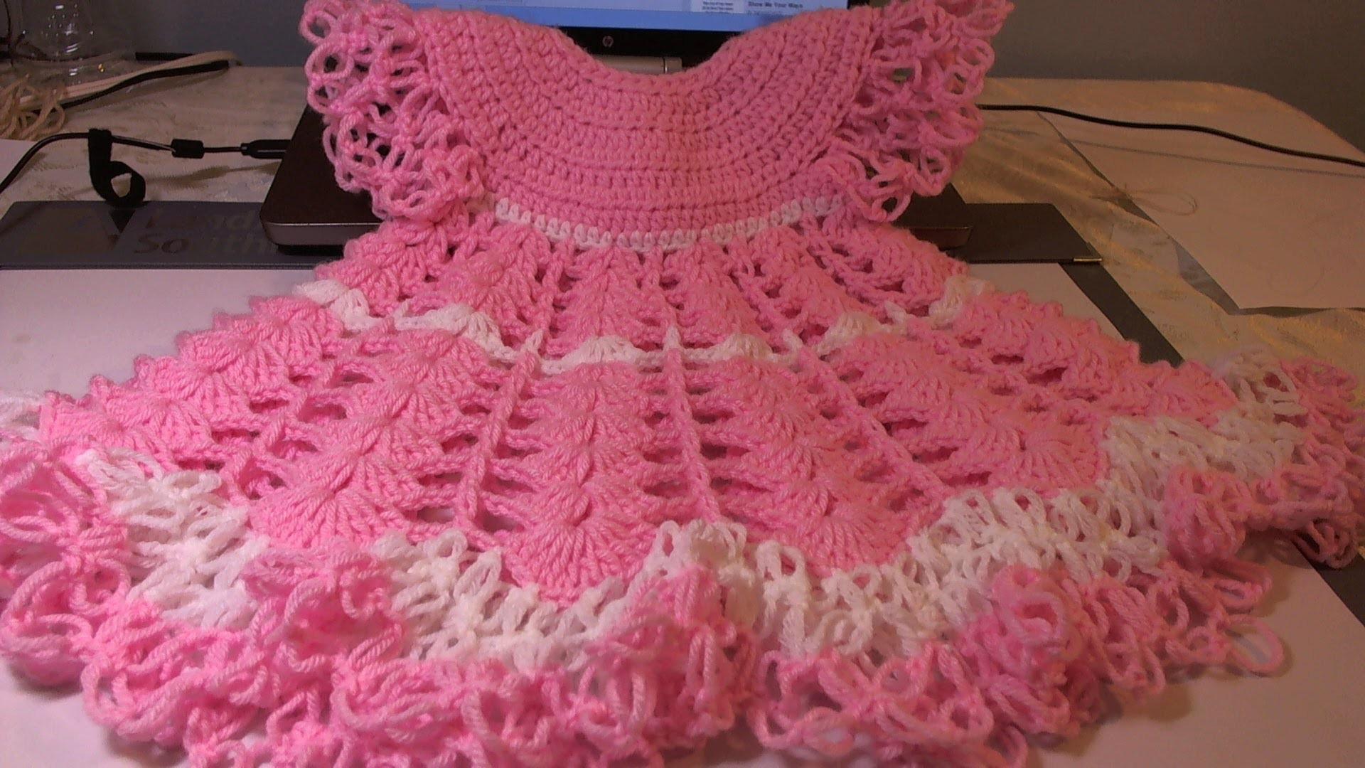 #CrochetBabyDress. Shells, Video 2. Subtitulos en Espanol