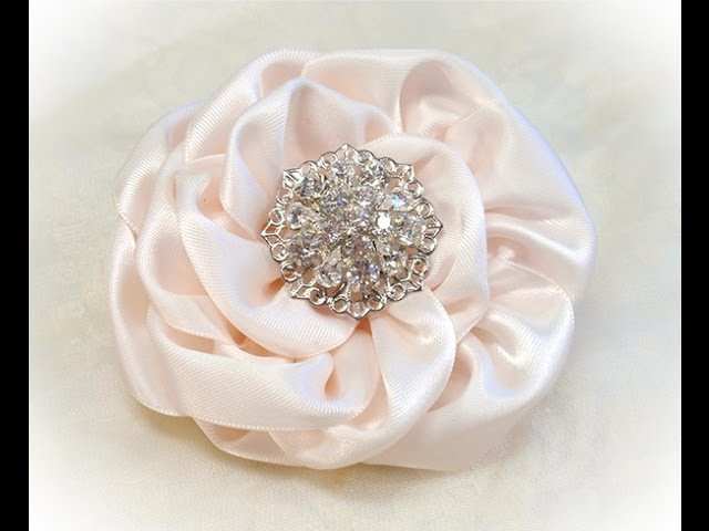 DIY Kanzashi Flower, Ribbon Rose, Tutorial, DIY,  One piece, no cuts
