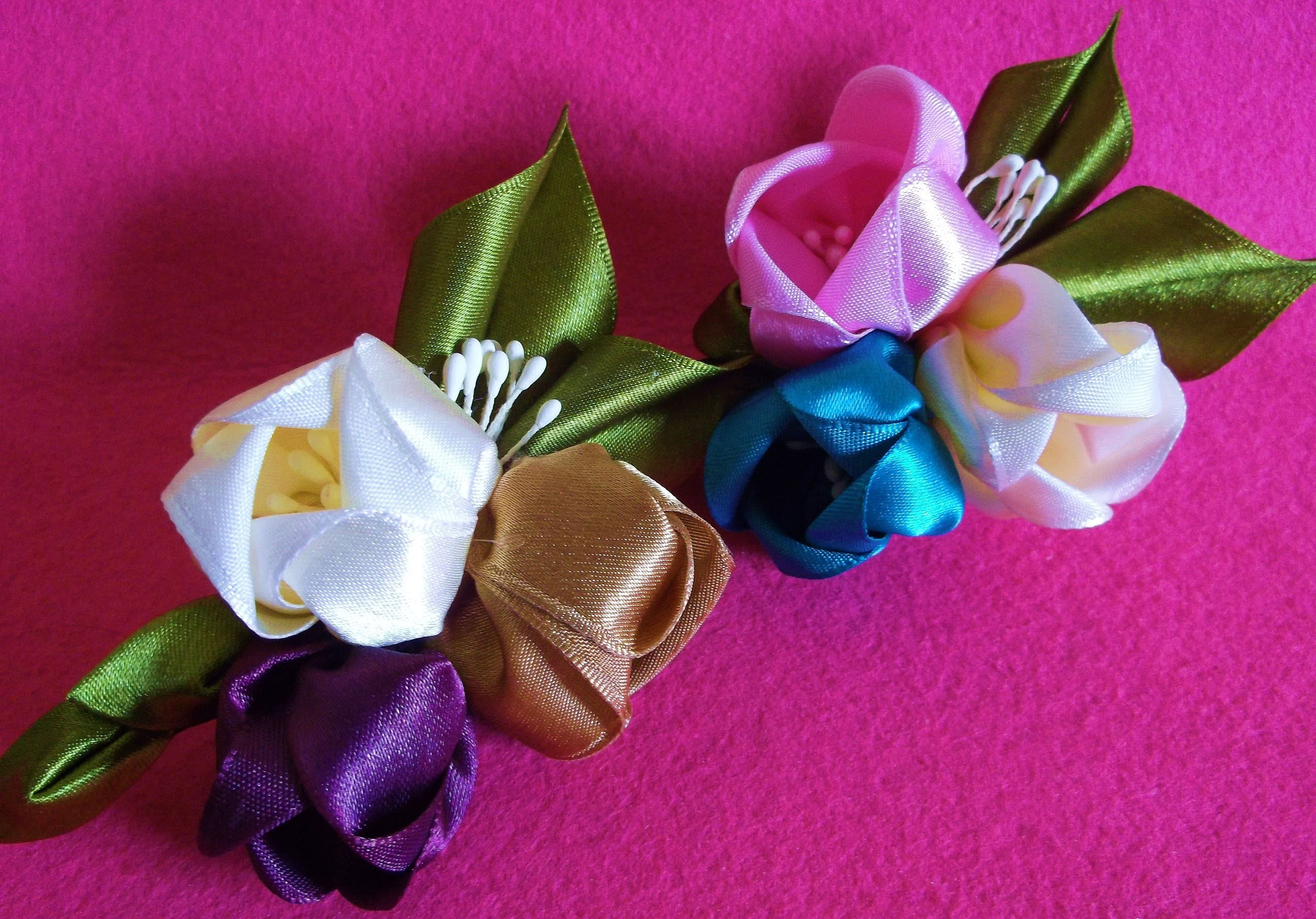 D.I.Y. Kanzashi inspired Satin Tulip Flower Hair Clips - Tutorial