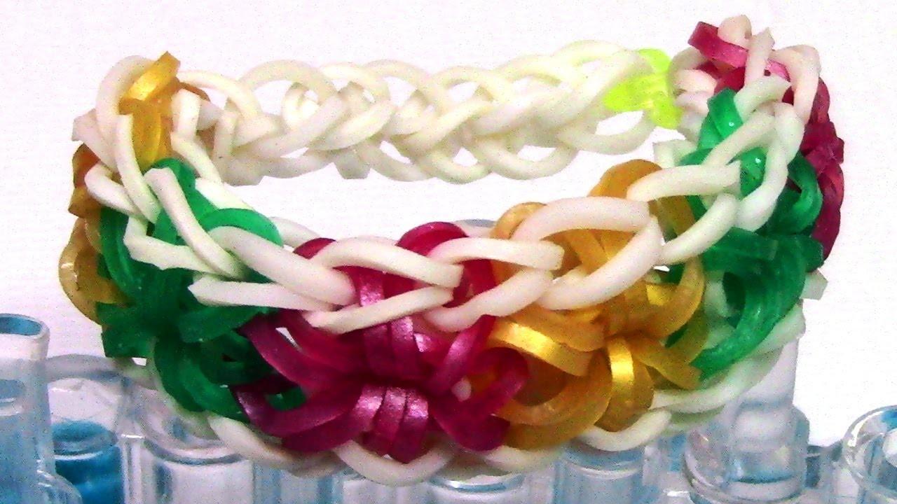 DIY Loom Bands Starburst Bracelet Tutorial - Make Easy Rainbow Bands Bracelet