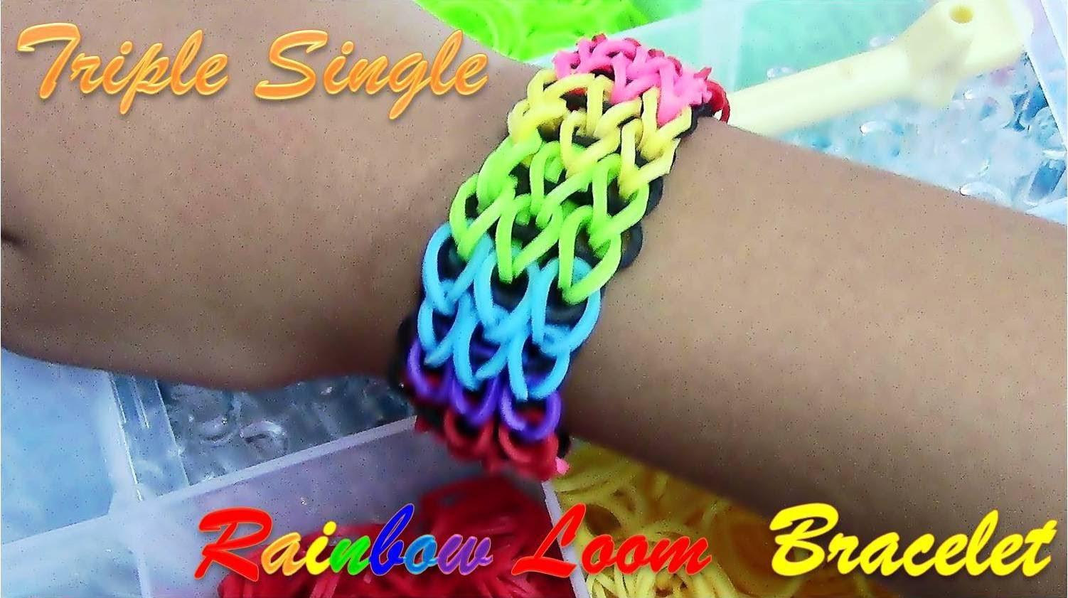 DIY Loom Bands Triple Single Rainbow Bracelet Tutorial