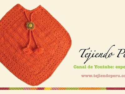 Dos agujas y crochet:  poncho tejido de dos cuadrados (Parte 1)