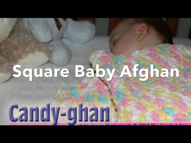 How To Crochet Baby Pitter Patter Afghan - granny square blanket (CC Closed Captions)