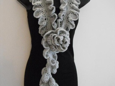 How to Crochet ruffle rose scarf free pattern tutorial for beginners
