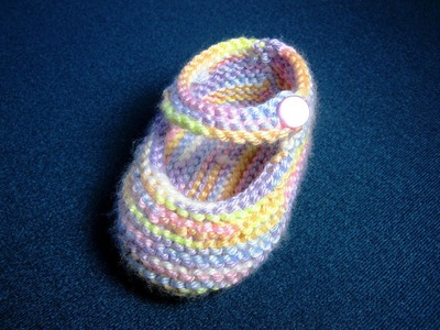 How to Knit Basic Mary Jane Baby Booties Part 2 (Left Bootie)