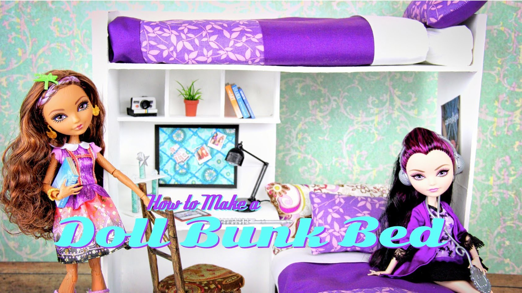 How to Make a Doll Bunk Bed | plus Desk - Doll Crafts