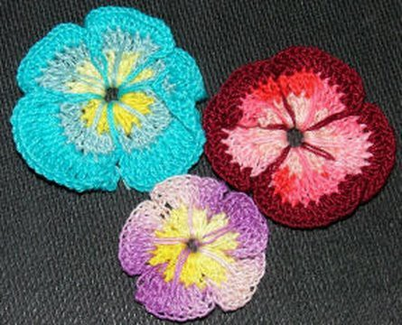 How to make a Multi Color Crochet Flower Pansy Crochet Geek