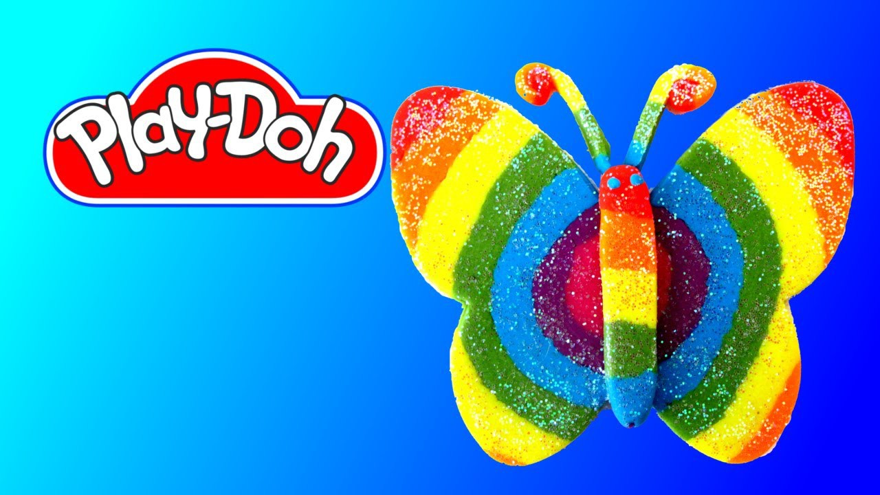 How to make Play Doh Glitter Rainbow Butterfly