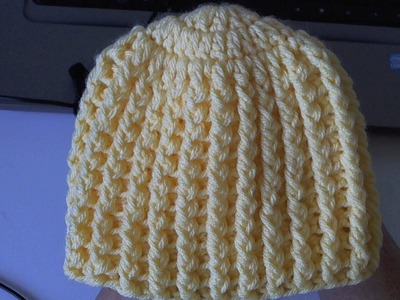 Learn to crochet Easy Ribbed Beanie.Cap Style 1  (Tambien en Español)
