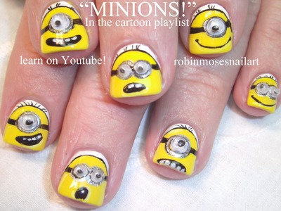 MInion Nail Art Tutorial for Short Nails | DIY Nail Art for Beginners