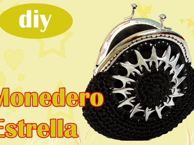 Monedero con fichas de aluminio a crochet: Monedero Estrella
