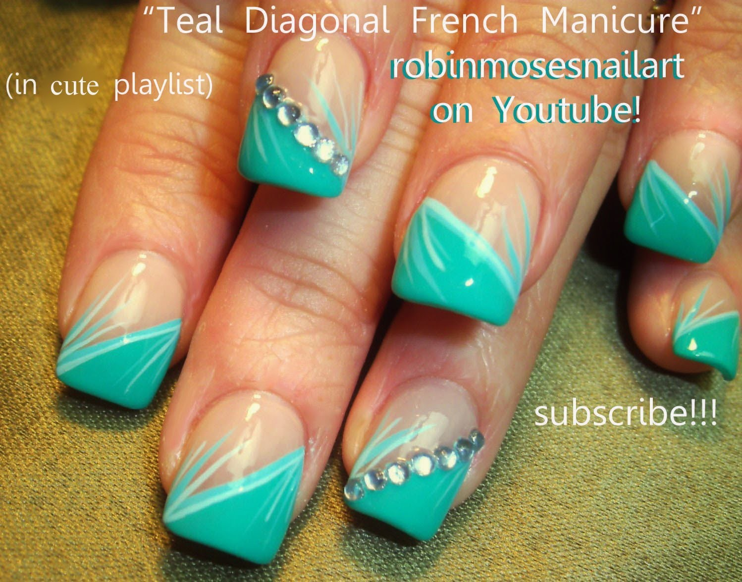 Nail Art Tutorial | Easy Stripe Nail Design | Mint Teal Stripe Nails for Beginners